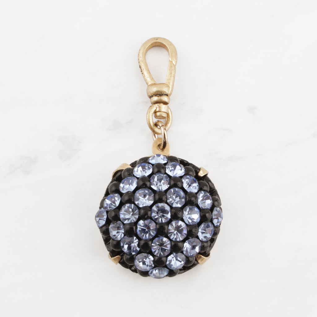 Vintage 1950's Blue Resin and Light Sapphire Glass Crystal Carlie Charm