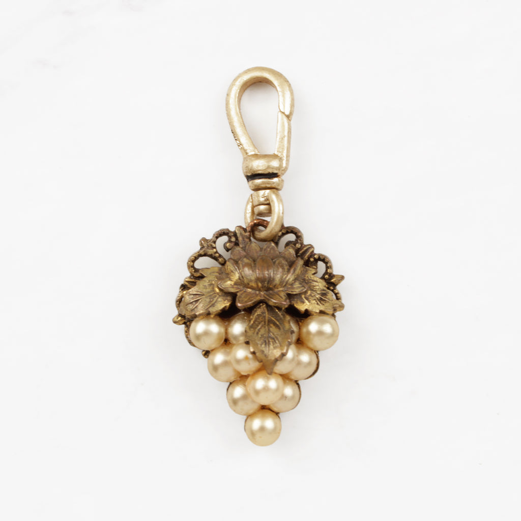 Vintage 1950's Glass Pearl and Lotus Leaf Grape Cluster Basia Charm