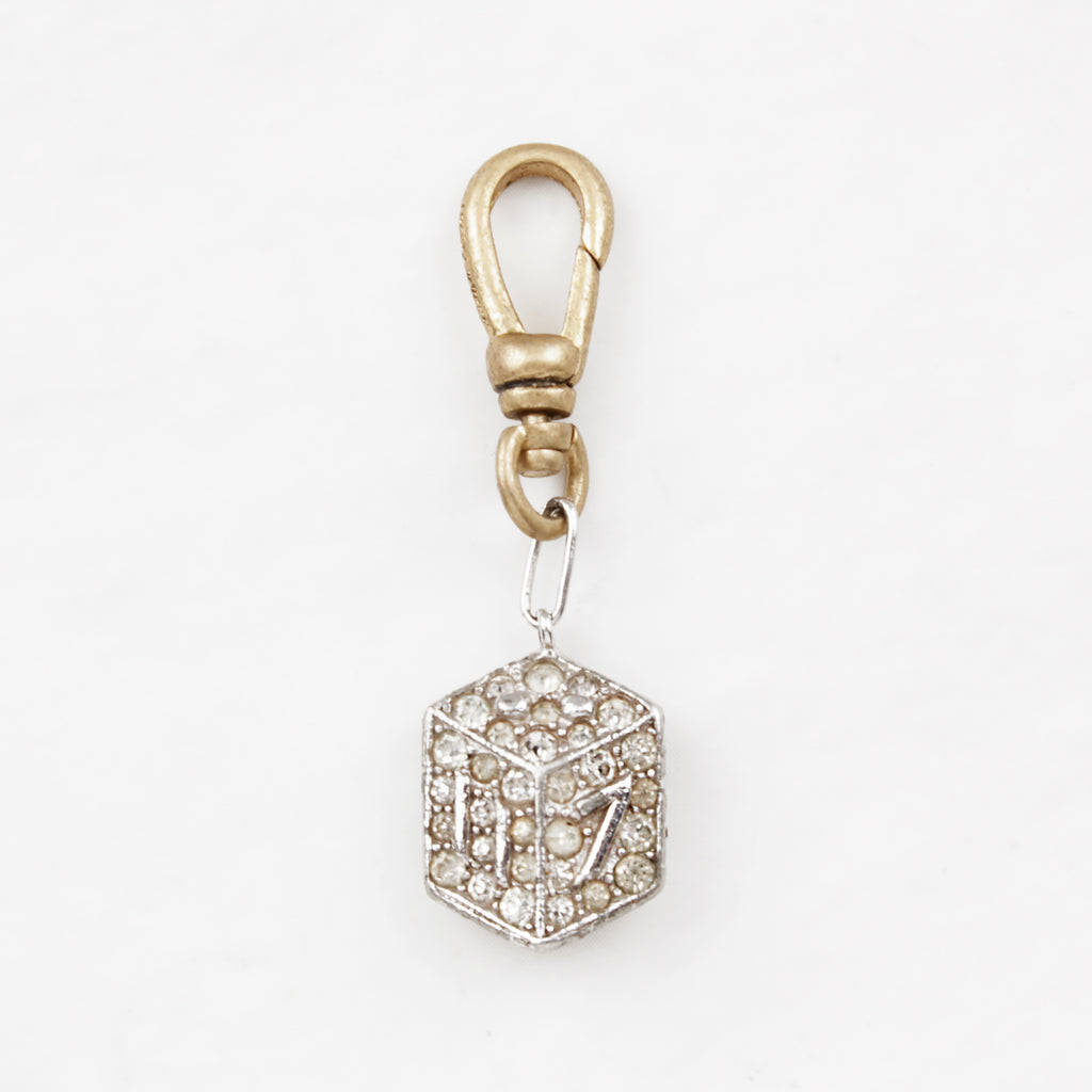 Vintage 1940's Sterling Silver and Crystal 3D Sparkling 11-7 Dice Charm