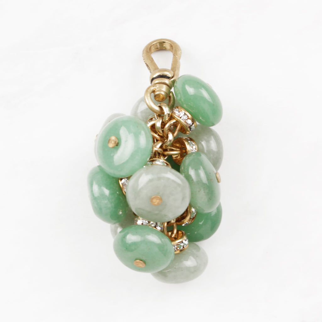 Soft Green Aventurine Rondelle and Crystal Cluster Tassle Charm