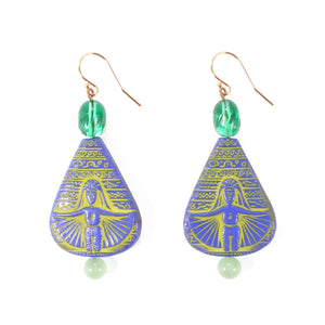 Vintage Egyptian Revival Glass Jaunt Earring - Thumbnail