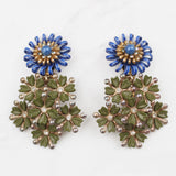 Vintage 1950's Spiralled Blue Enamel Flower Khaki Crystal Bloom Clip Earrings