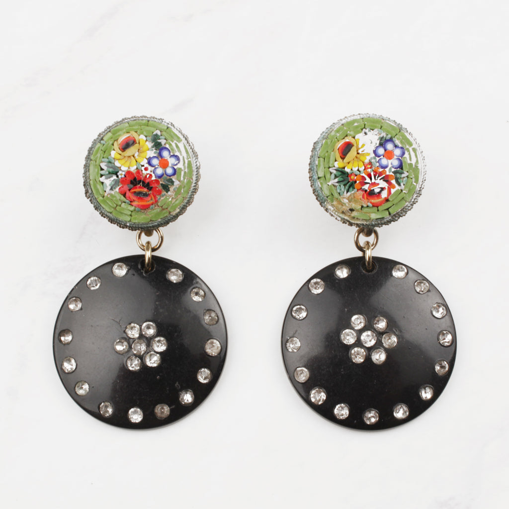 Vintage Crystal Dotted Resin and Glass Millefiori Screw-Back Beth Earrings