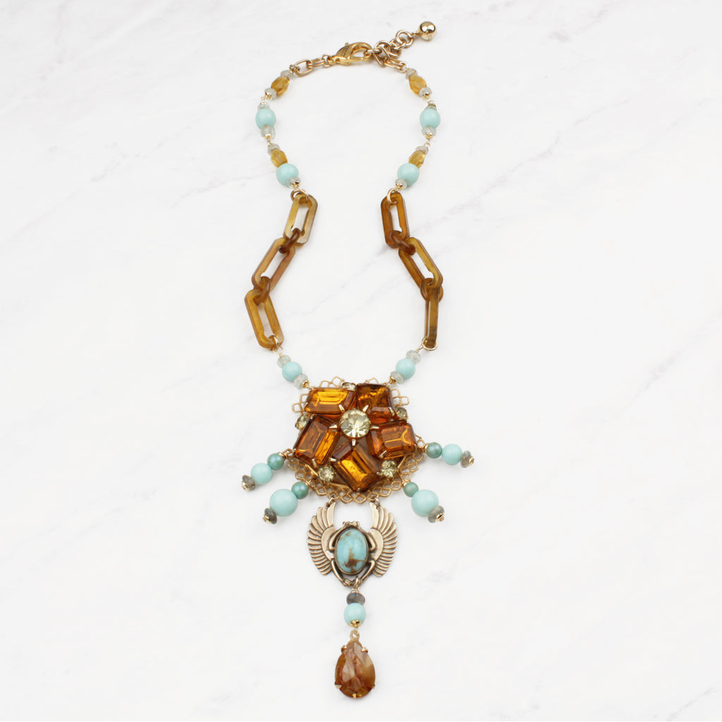 Antique and Vintage 100 Year Scarab and Honey Waters Necklace