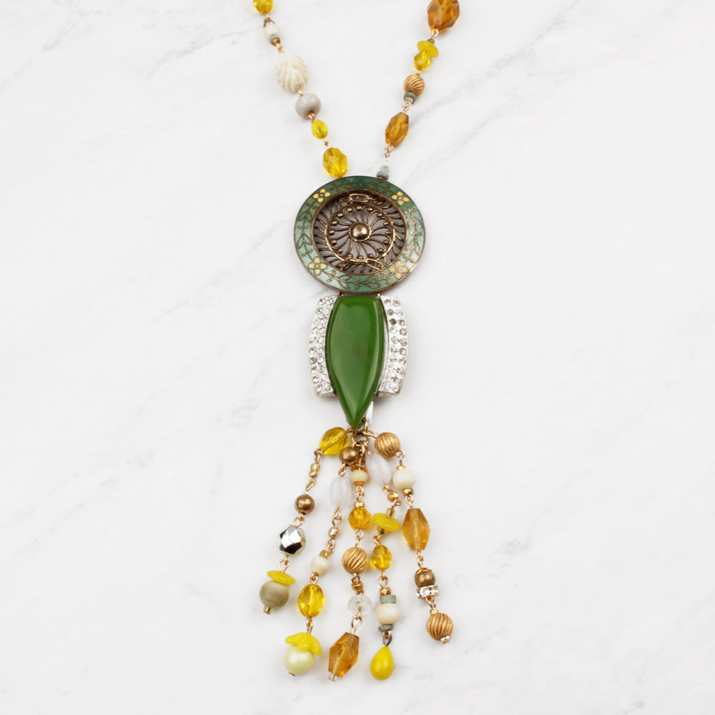 Antique French Enamel Green Yellow Spring Fling Beaded Tassel Necklace