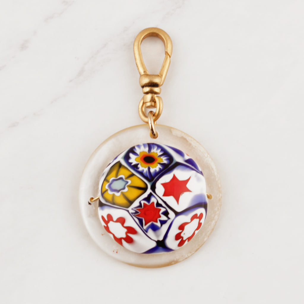 Vintage Layered Millefiori & Mother of Pearl Charm