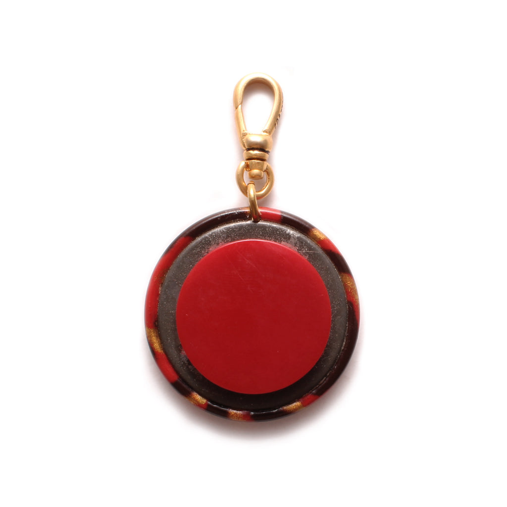 Vintage Celluloid Red Zebra Button Charm - Photo
