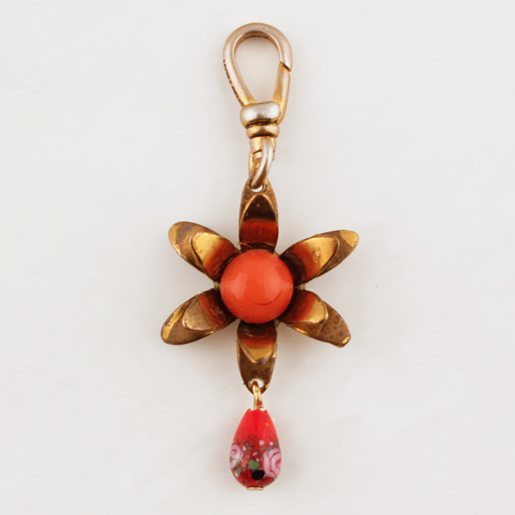 Antique Flower with Drop Charm