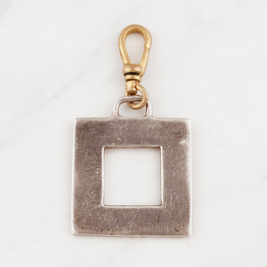 Vintage Sterling Silver Open Square Charm