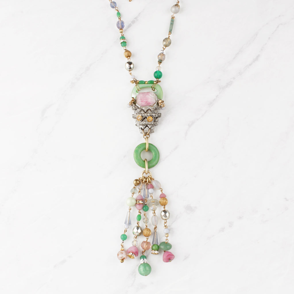 Antique and Vintage 100 Year Candy Jadeite and Deco Pink Sweet Melissa Necklace