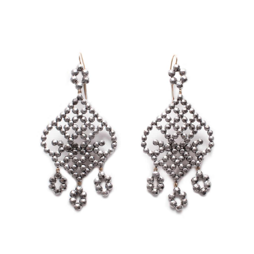 Antique Cut Steel Chandelier Earrings - Photo