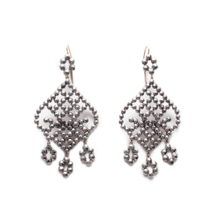 Antique Cut Steel Chandelier Earrings - Thumbnail