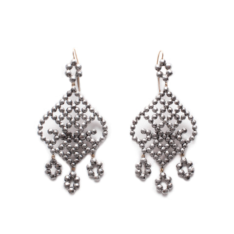 Antique Cut Steel Chandelier Earrings