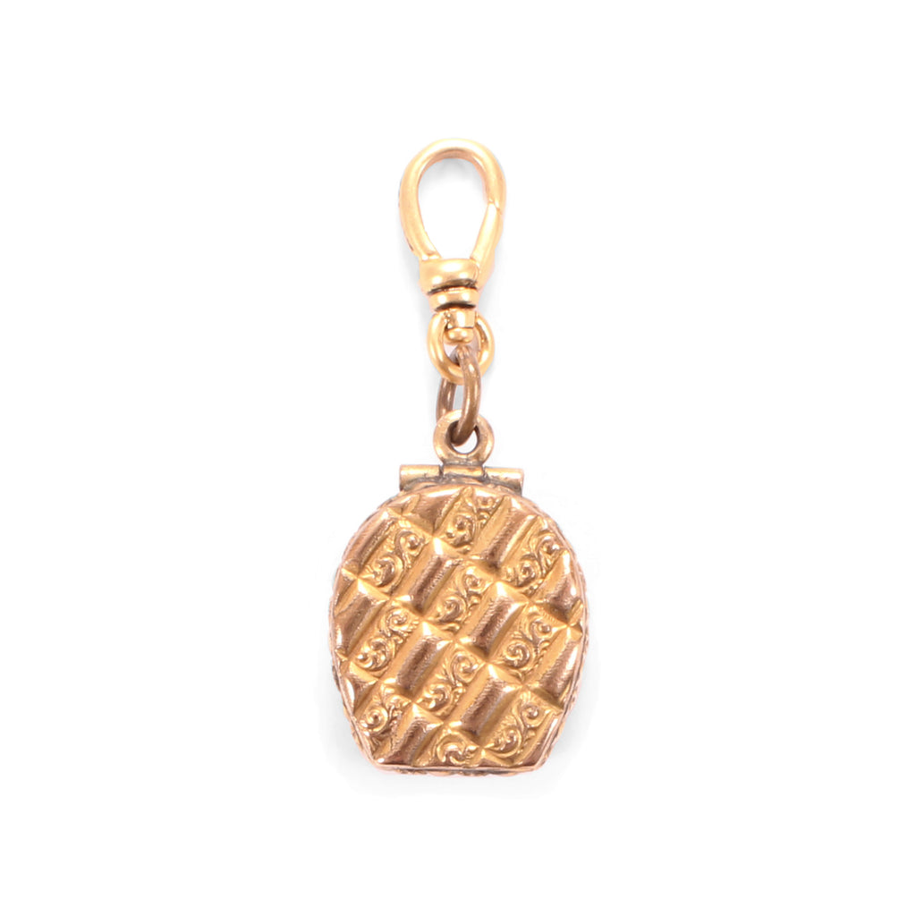 Antique Gold Filled Quilted Horseshoe Locket - Photo