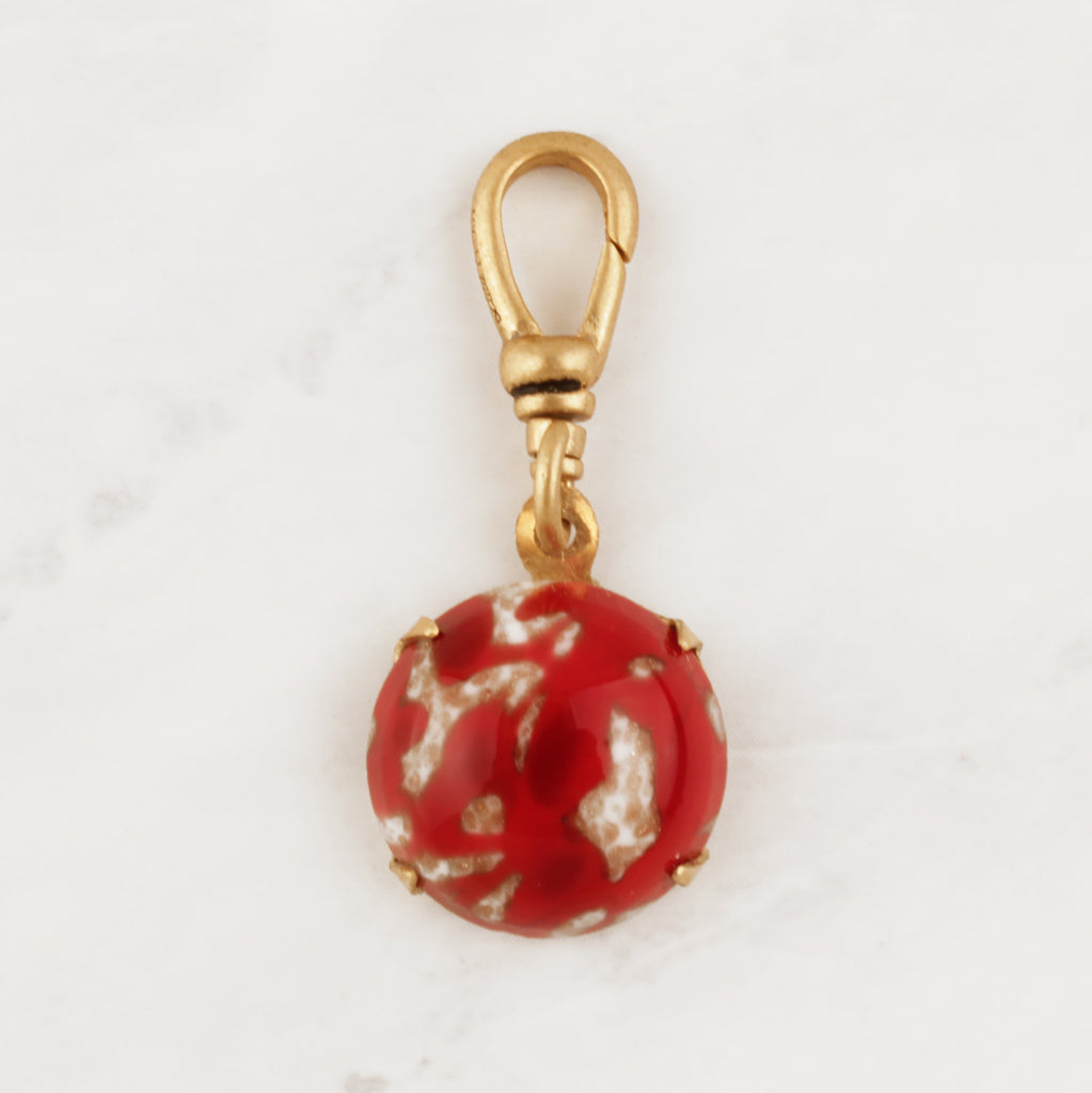Vintage Gold Marbled Red Glass Charm