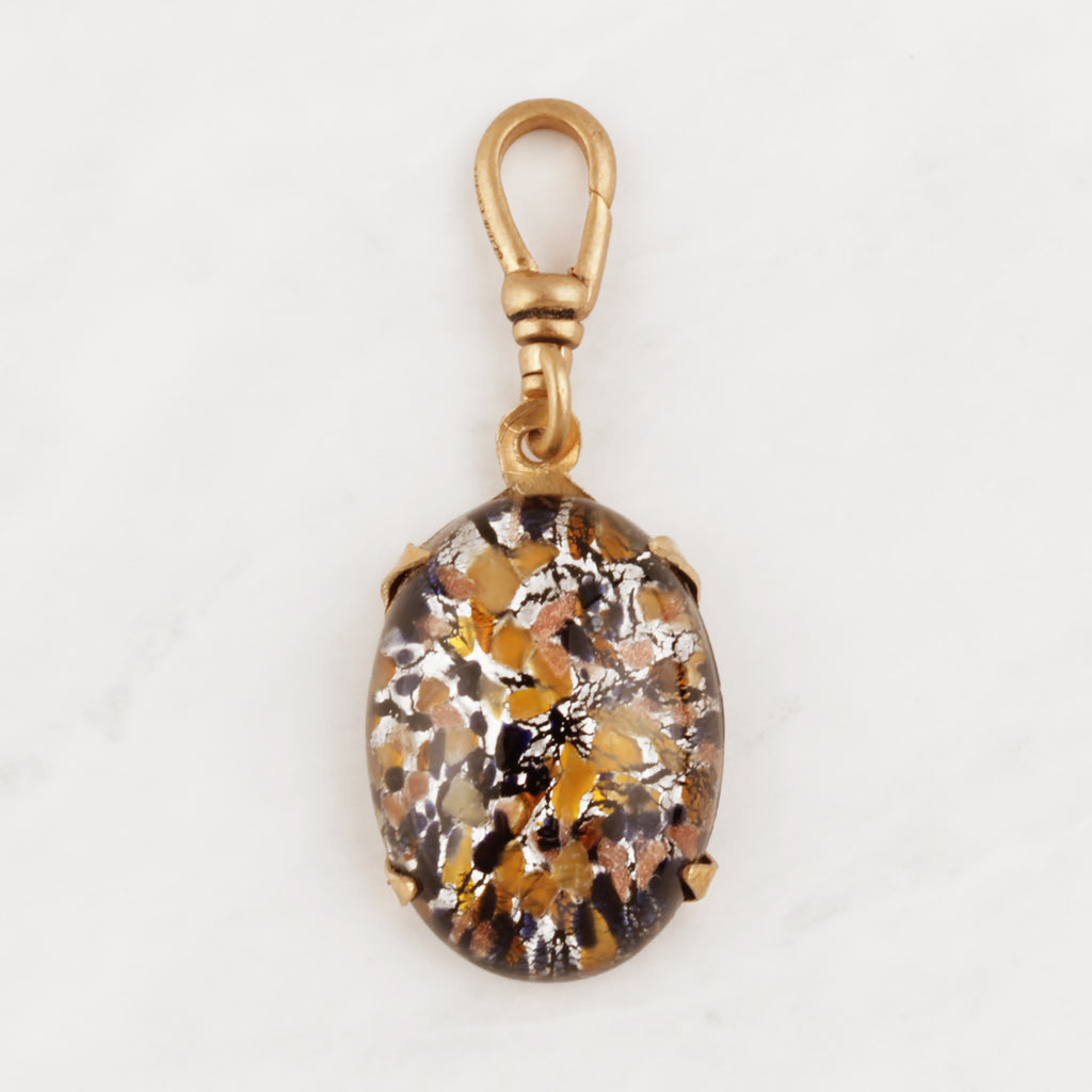 Vintage Leopard Speckle Glass Charm