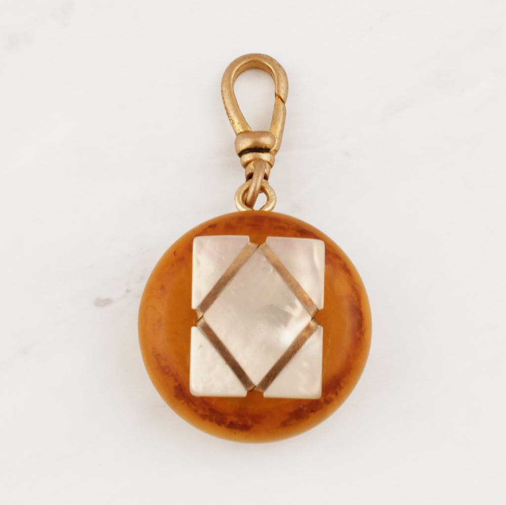 Layered Mother of Pearl & Bakelite Two-Sided Charm