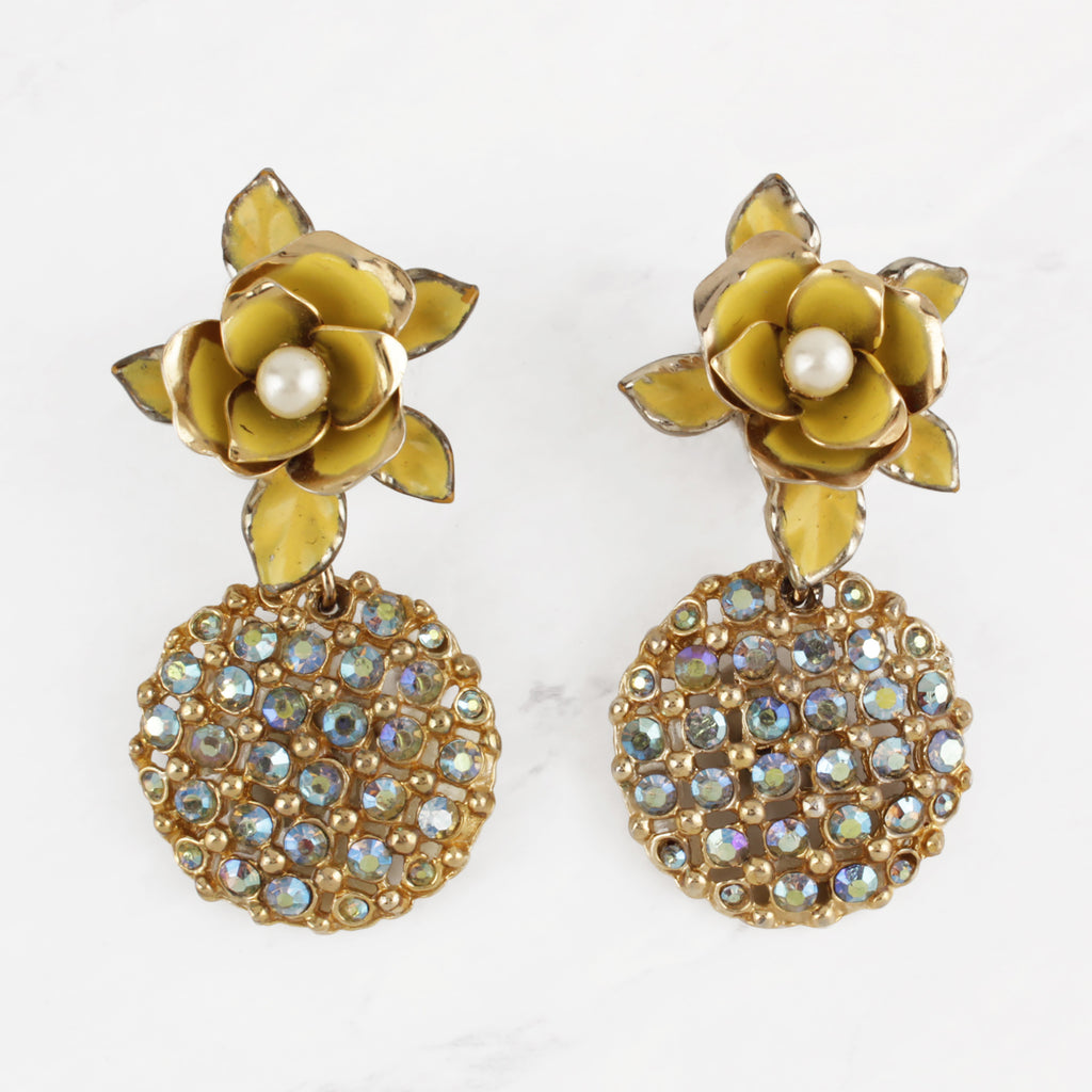 Vintage Yellow Enamelled Flower and Irridescent Seafoam Crystals Screw-Back Earrings