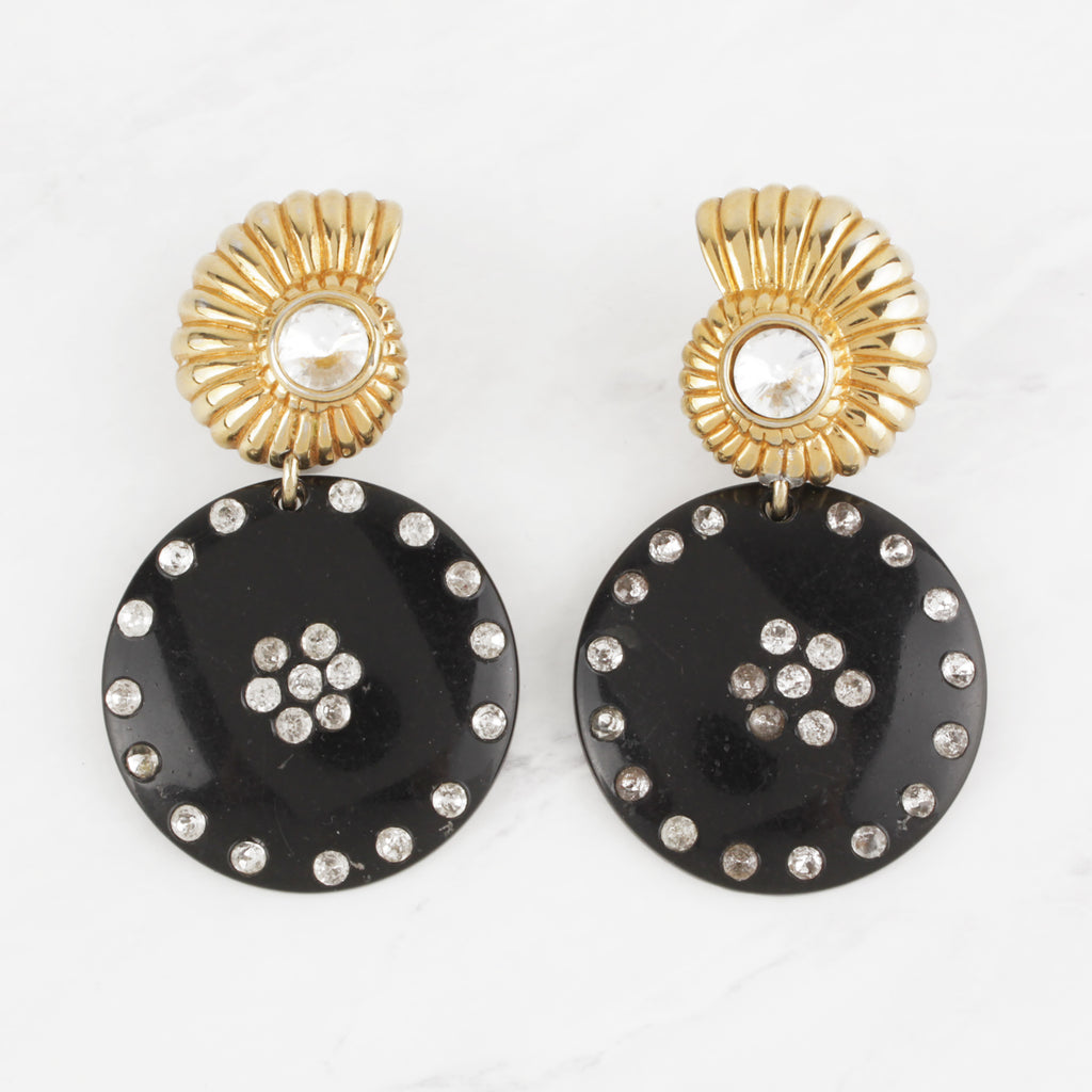 Vintage Spiralling 10 Karat Goldfill Shell and Black Resin Crystal Studded Post-Back Earrings