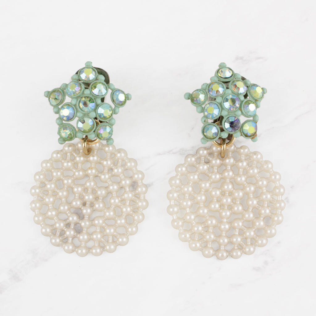 Vintage Seafoam Starburst and Pearlized Lacey Resin Disc Clip-On Arielle Earrings