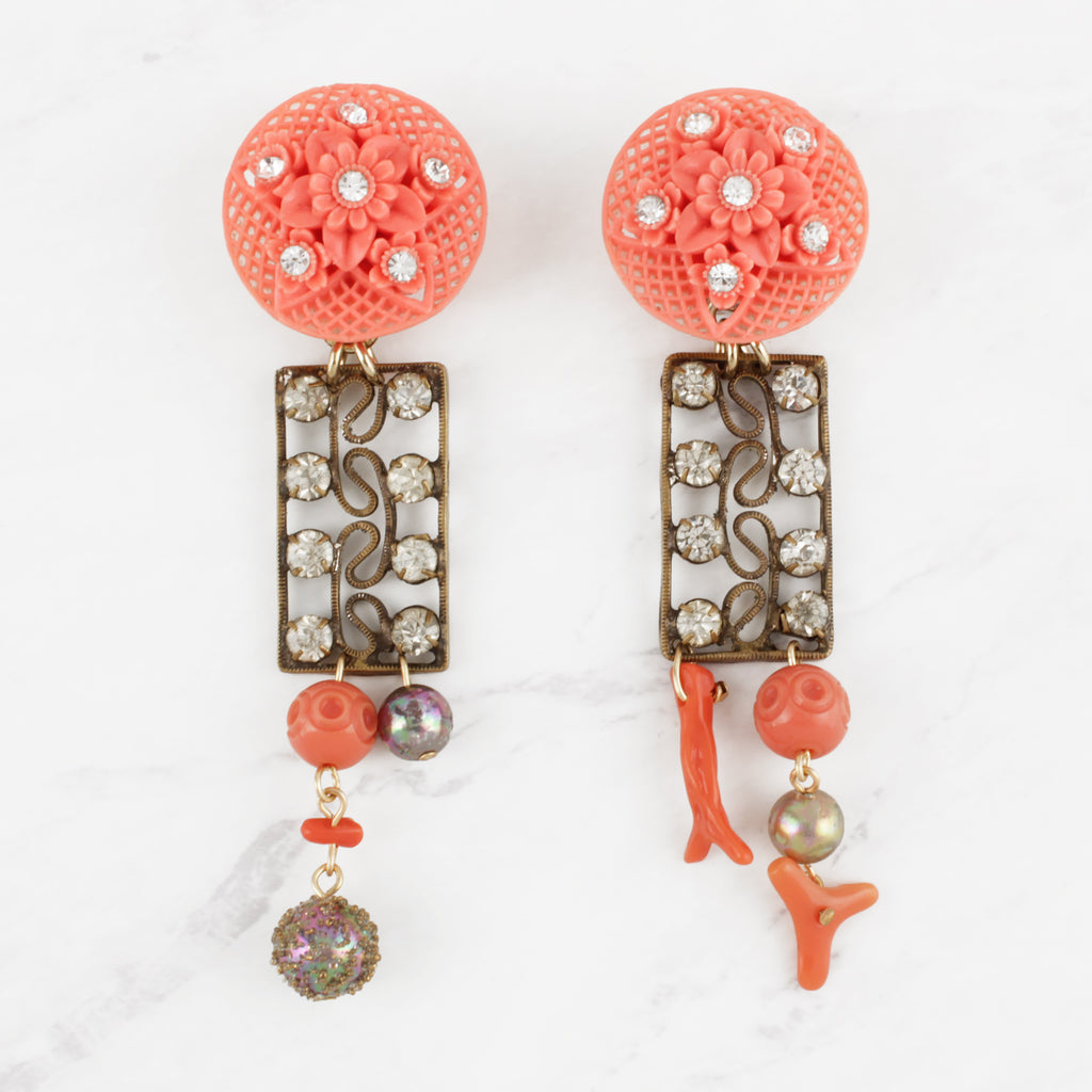 Antique and Vintage Crystal Coral Celluloid Paste, Natural Coral and Glass Clip-On Reina Earrings