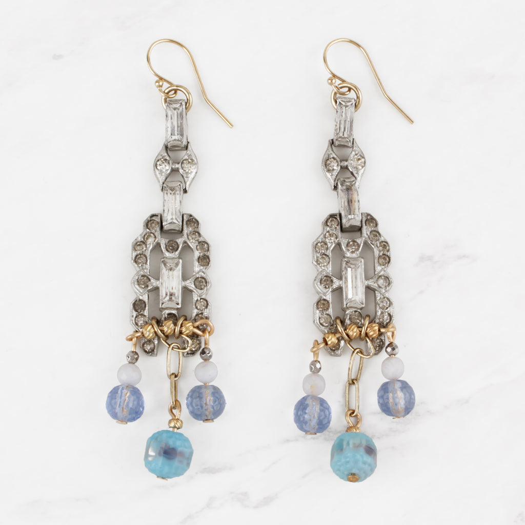 Vintage and Antique Art Deco Crystal Sky Blue Glass and Gold Beaded Estefania Earrings