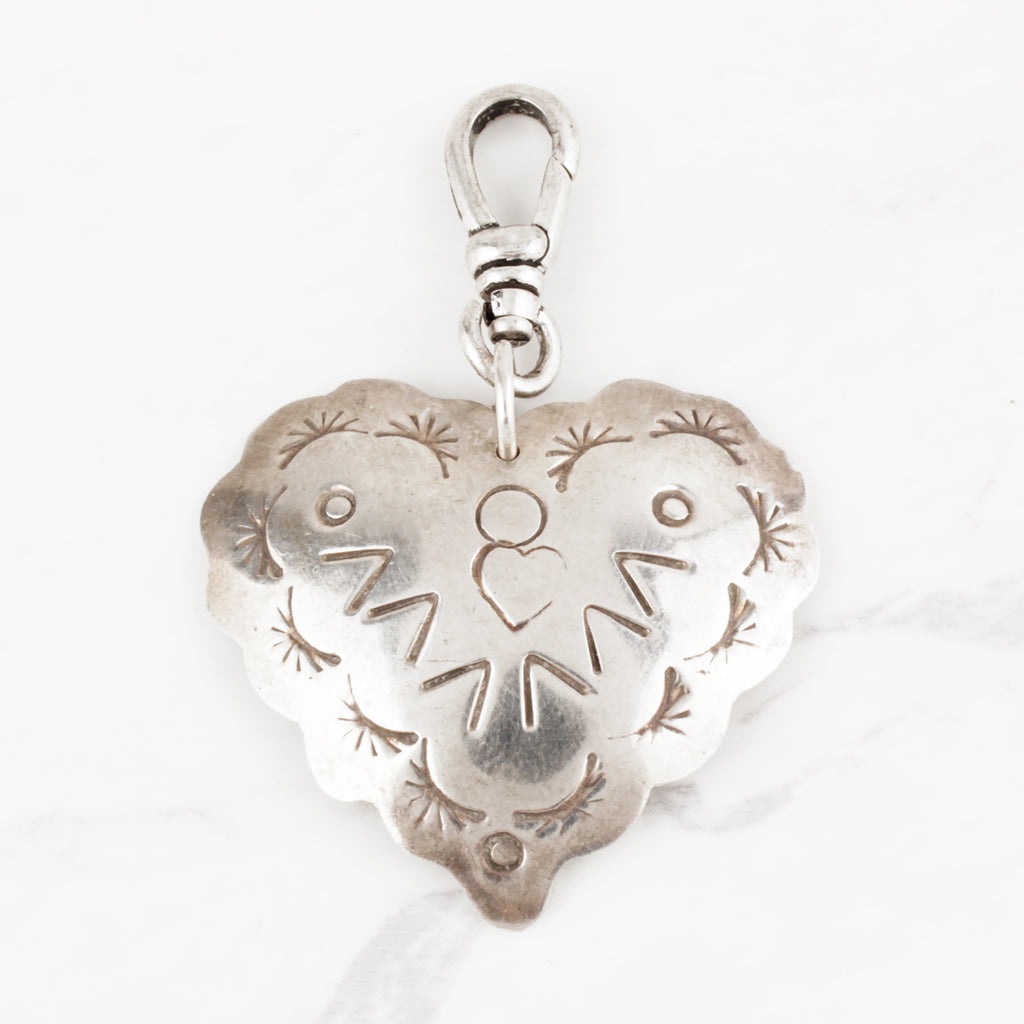 Vintage Sunrise V Stamped 'Mexico' Sterling Silver Domed Heart Charm
