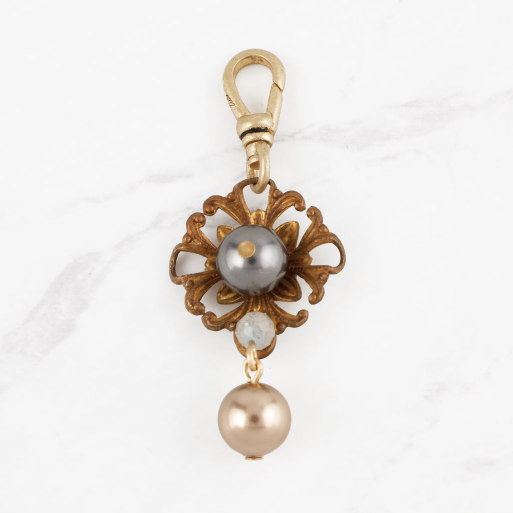 Vintage and Modern Glass Pearl Blossom and Labradorite Joan Charm
