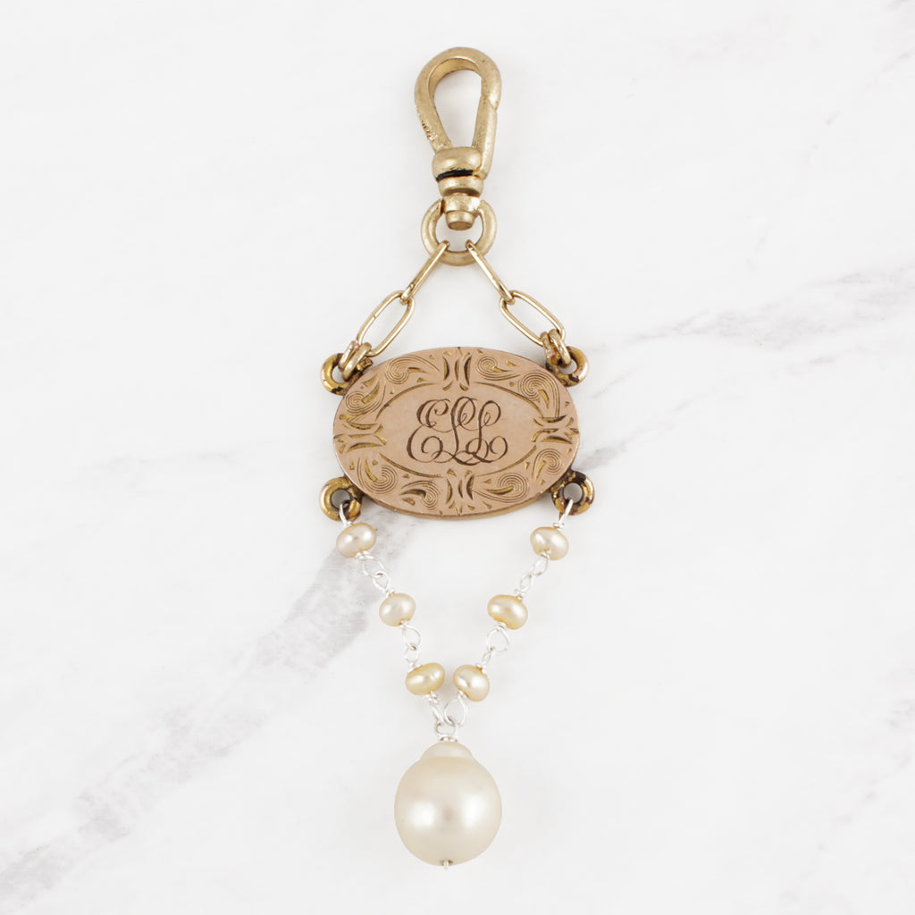 "Antique Victorian 14 Karat Gold and Natural Pearl ""ELL"" Monogram Charm"