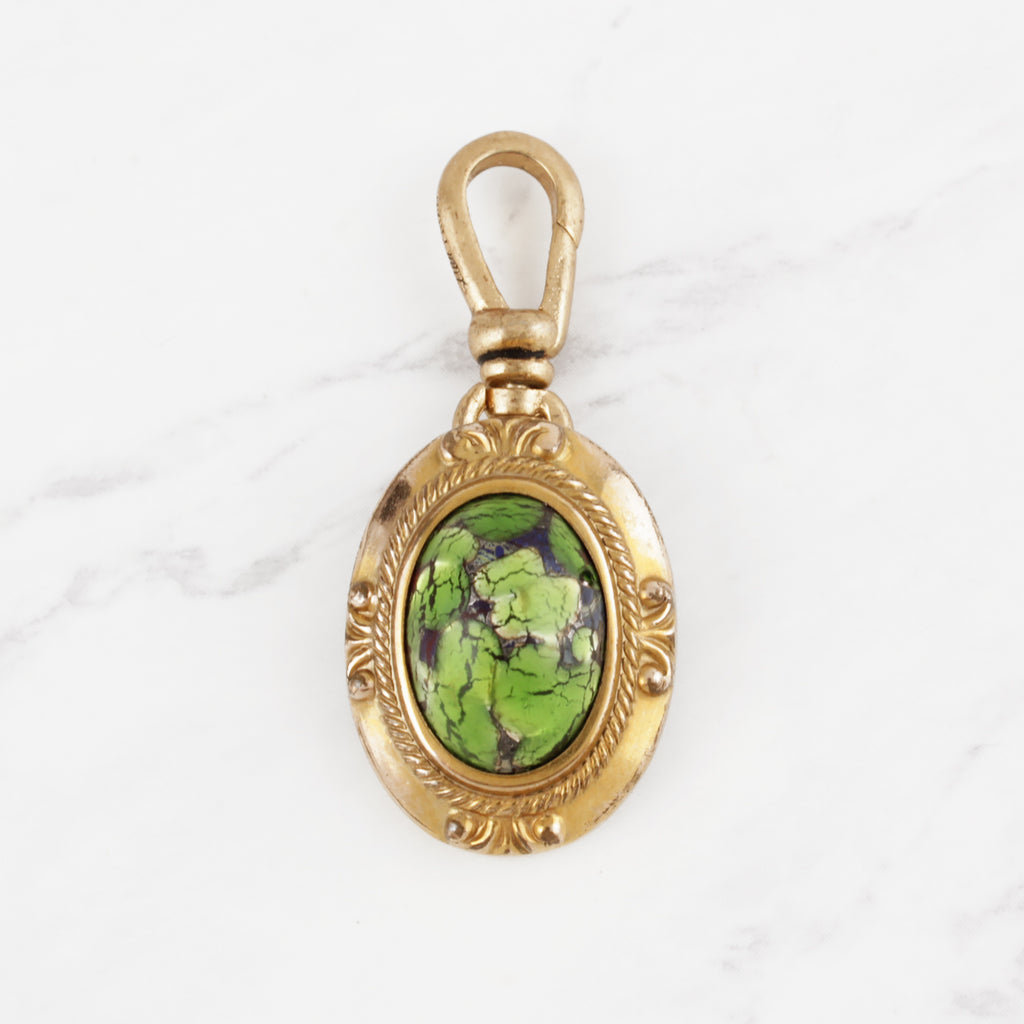 Antique Victorian 10 Karat Gold Green Crackled Art Glass Hedy Charm