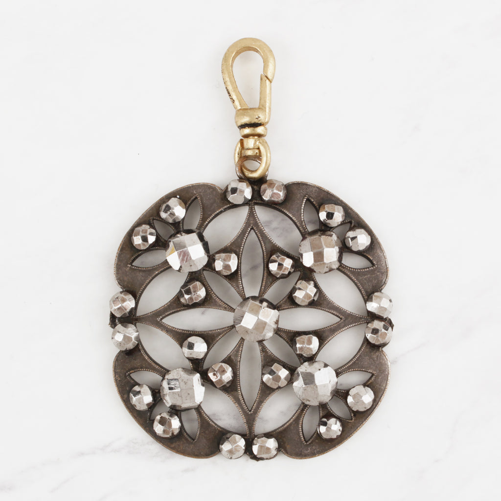 Antique Victorian 1880's Cut-Steel Wheel of Life Mandala Charm