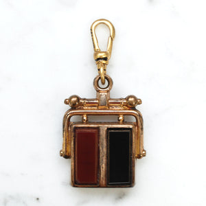 Antique Gold Filled Carnelian & Onyx Fob Charm - Thumbnail