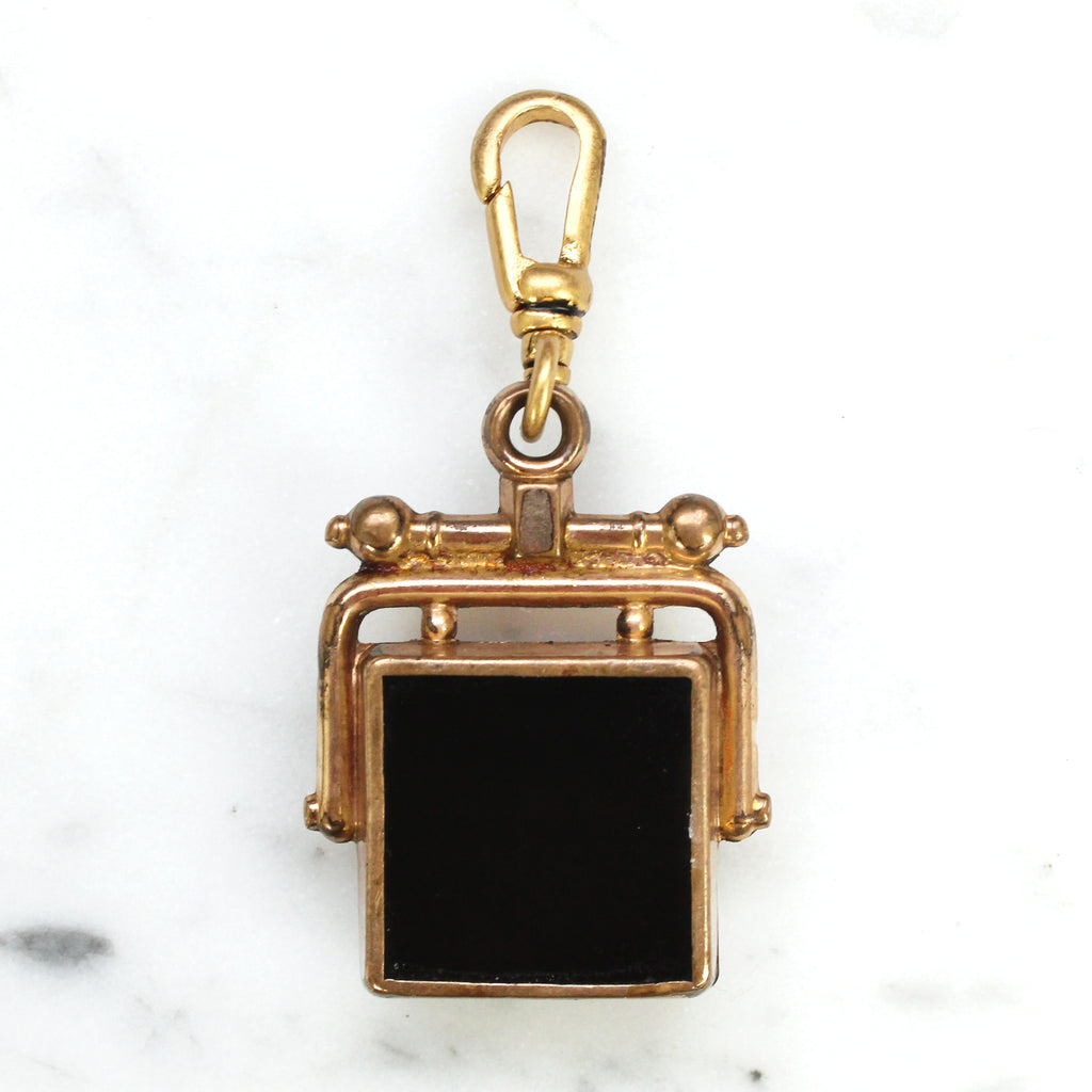 Antique Gold Filled Carnelian & Onyx Fob Charm - Photo