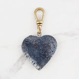 Vintage Unusual Dyed Blue Coral Heart Monroe Charm