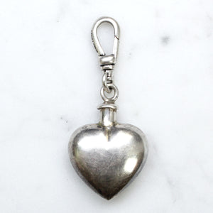 Antique Sterling Silver Heart Perfume Bottle Charm - Thumbnail