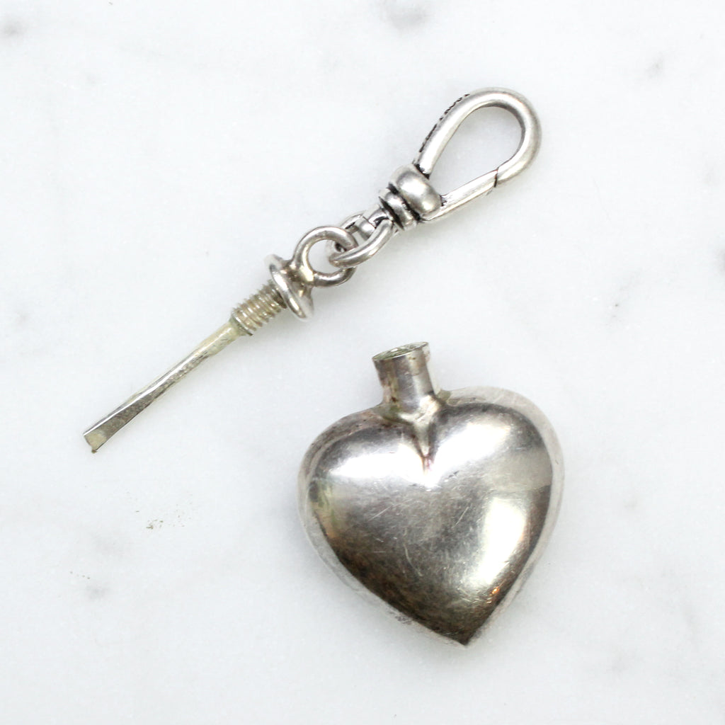 Antique Sterling Silver Heart Perfume Bottle Charm - Photo