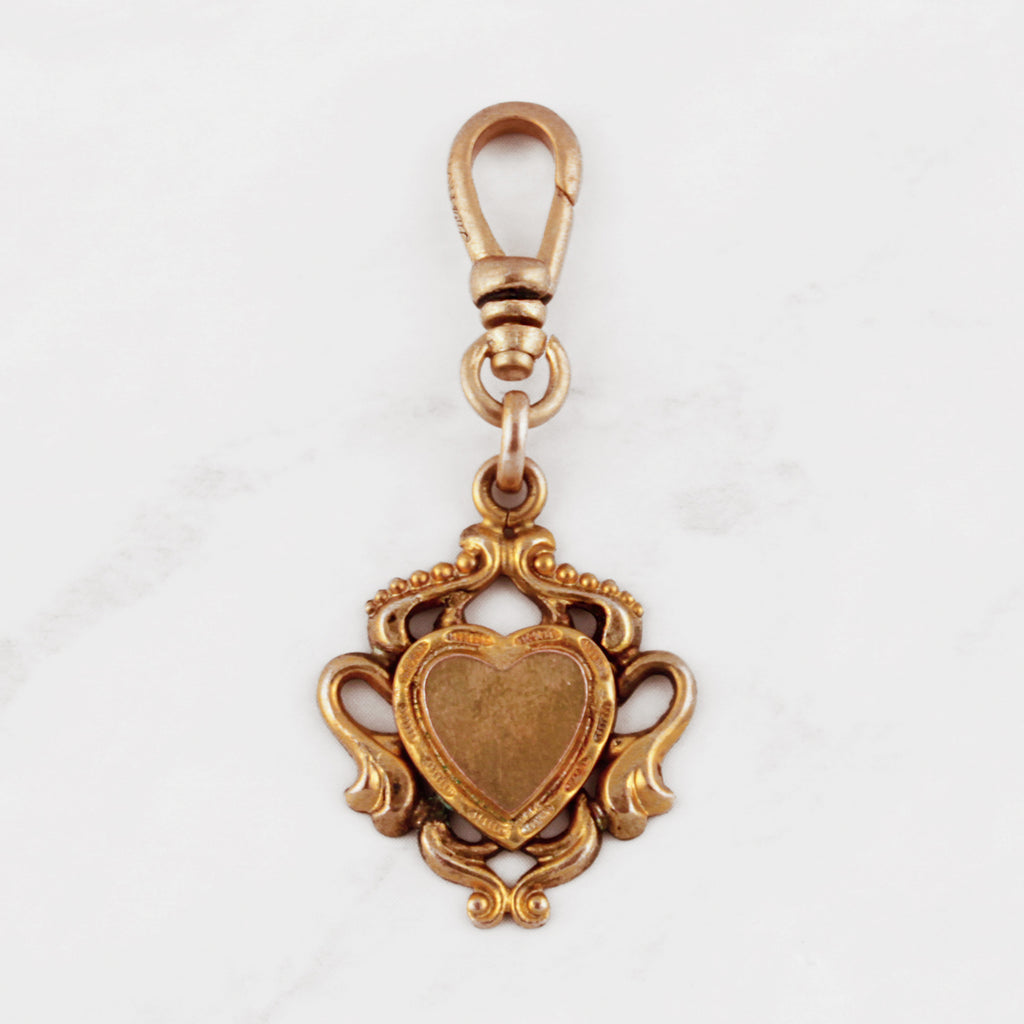 Antique Gold Filled Swagged Heart Charm