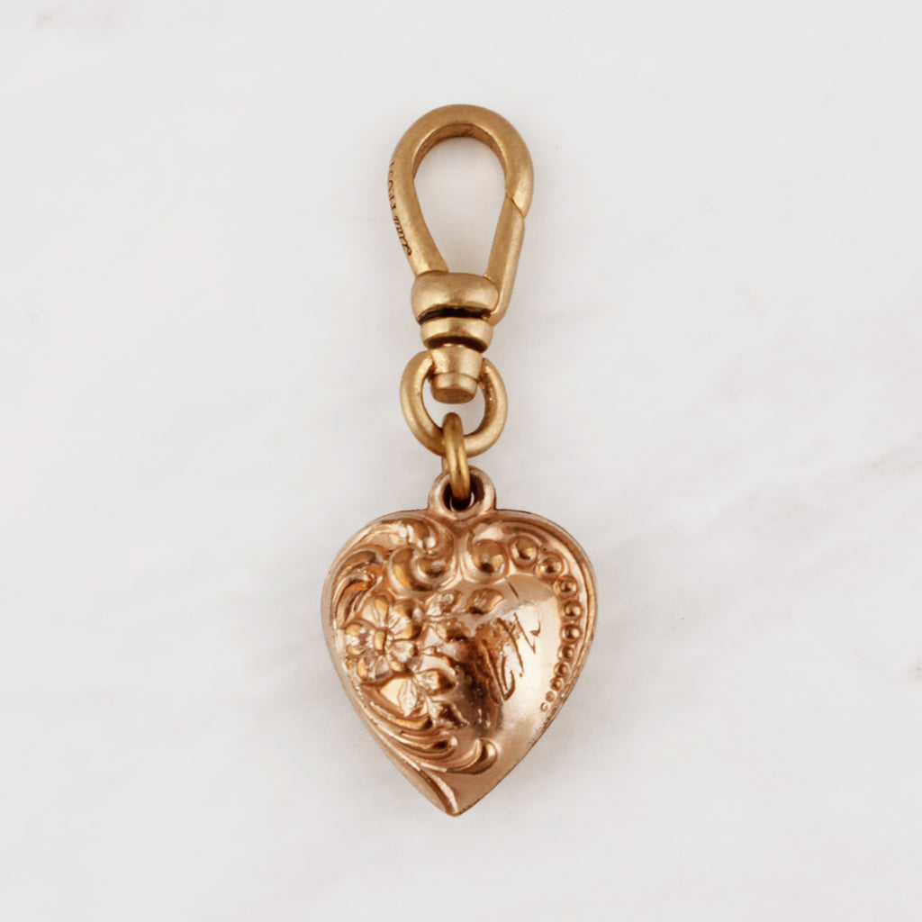 Antique Gold Filled Repousse Puffy Heart