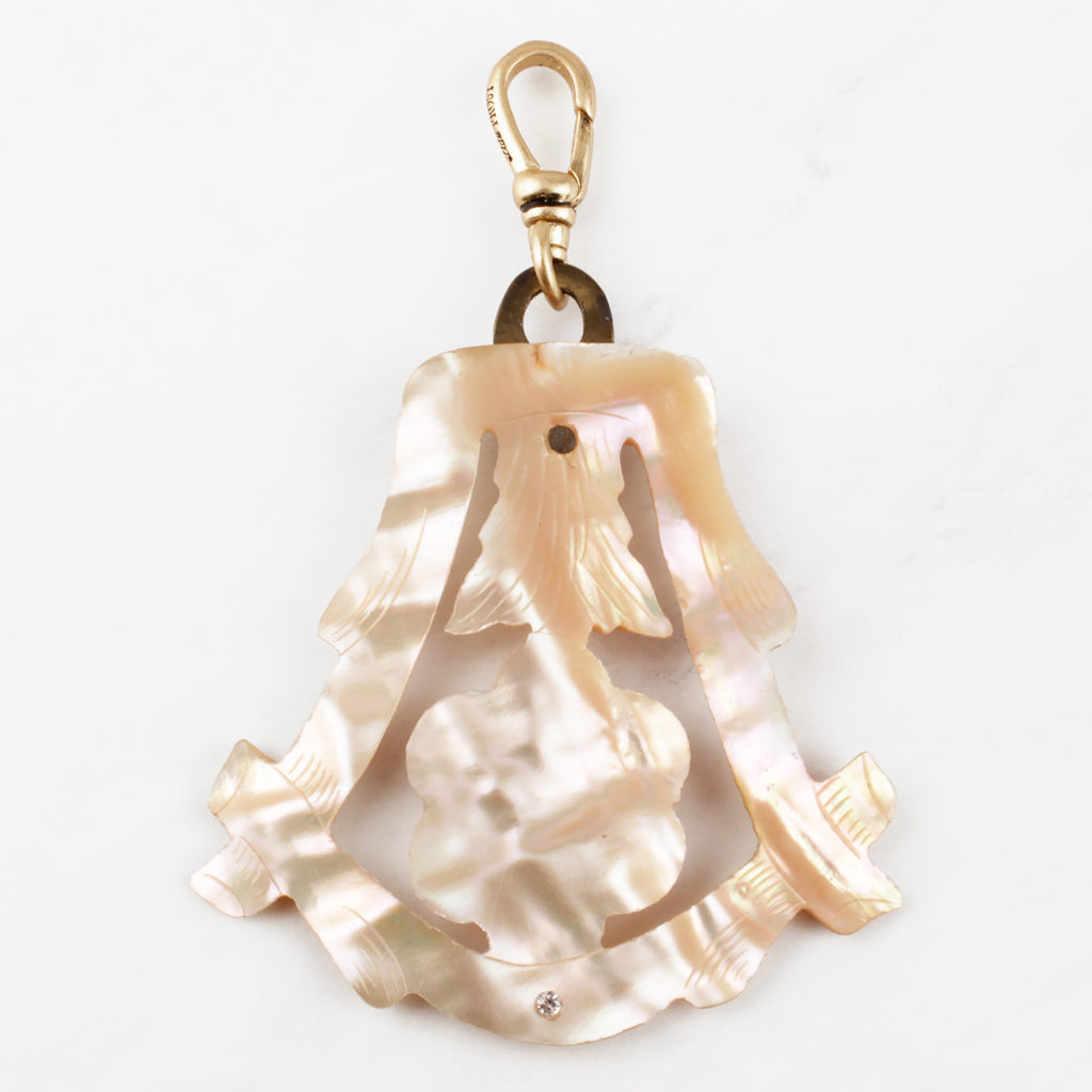Antique Mother of Pearl Flower Charm