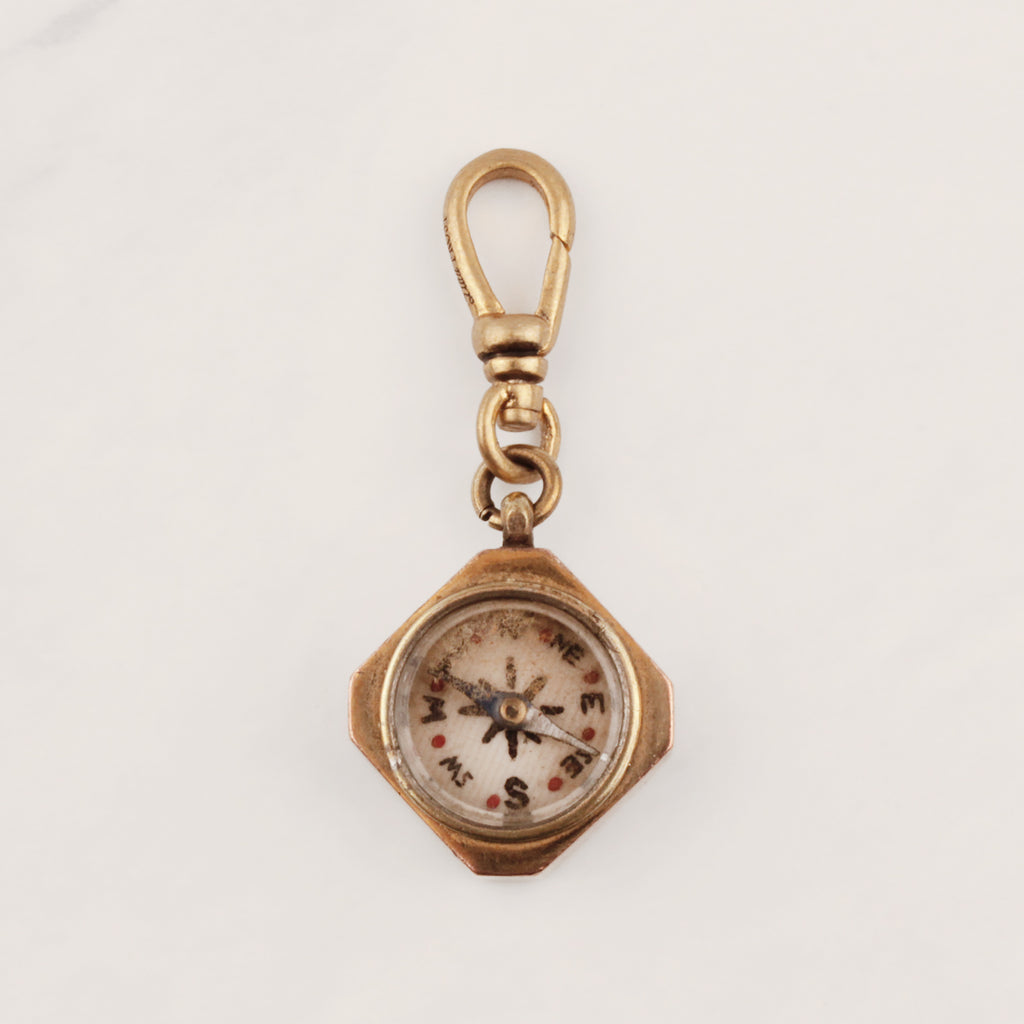 Antique Gold Filled Cut Corner Square Compass Charm - Photo