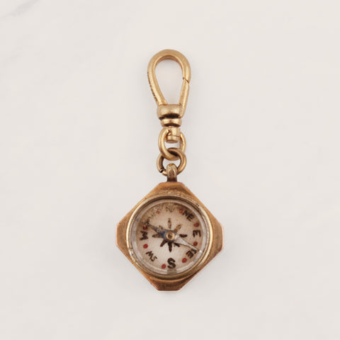 Antique Gold Filled Cut Corner Square Compass Charm