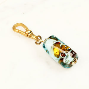 Vintage Foiled Lampwork Glass Cylinder Charm - Thumbnail