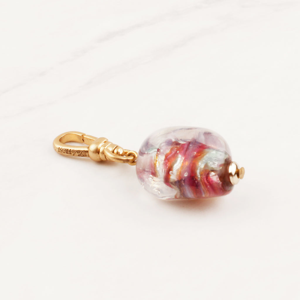 Vintage Foiled Lampwork Glass Charm - Photo