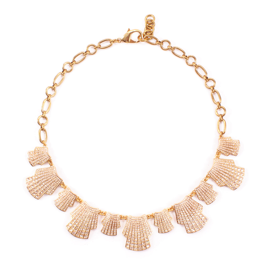 Deco Shell Fan Necklace - Gold