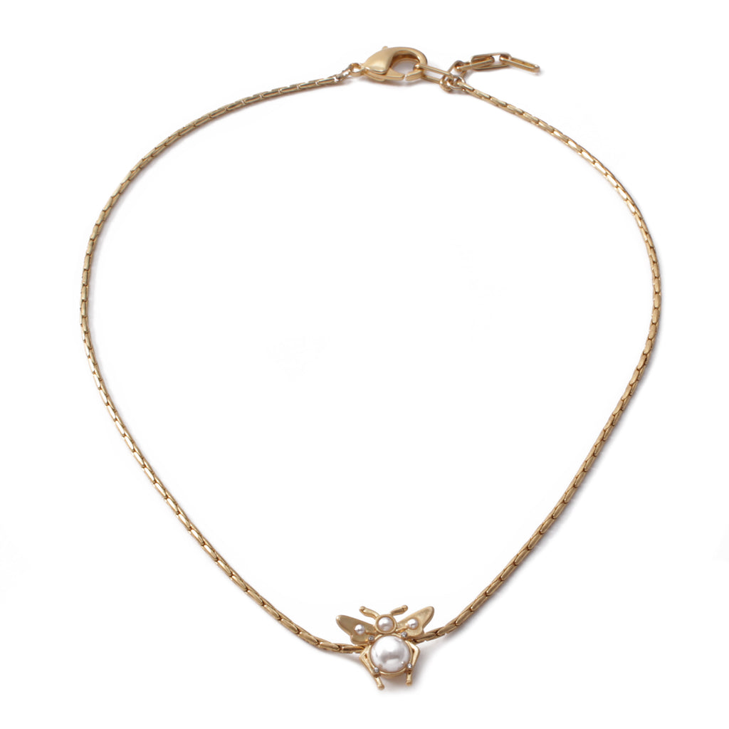 Carlotta Short Pendant Necklace - Pearl
