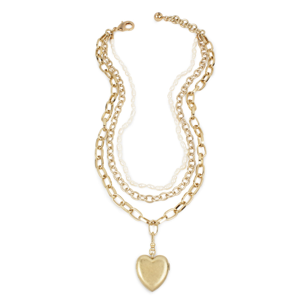 Adore Layered Chain and Pearl Necklace