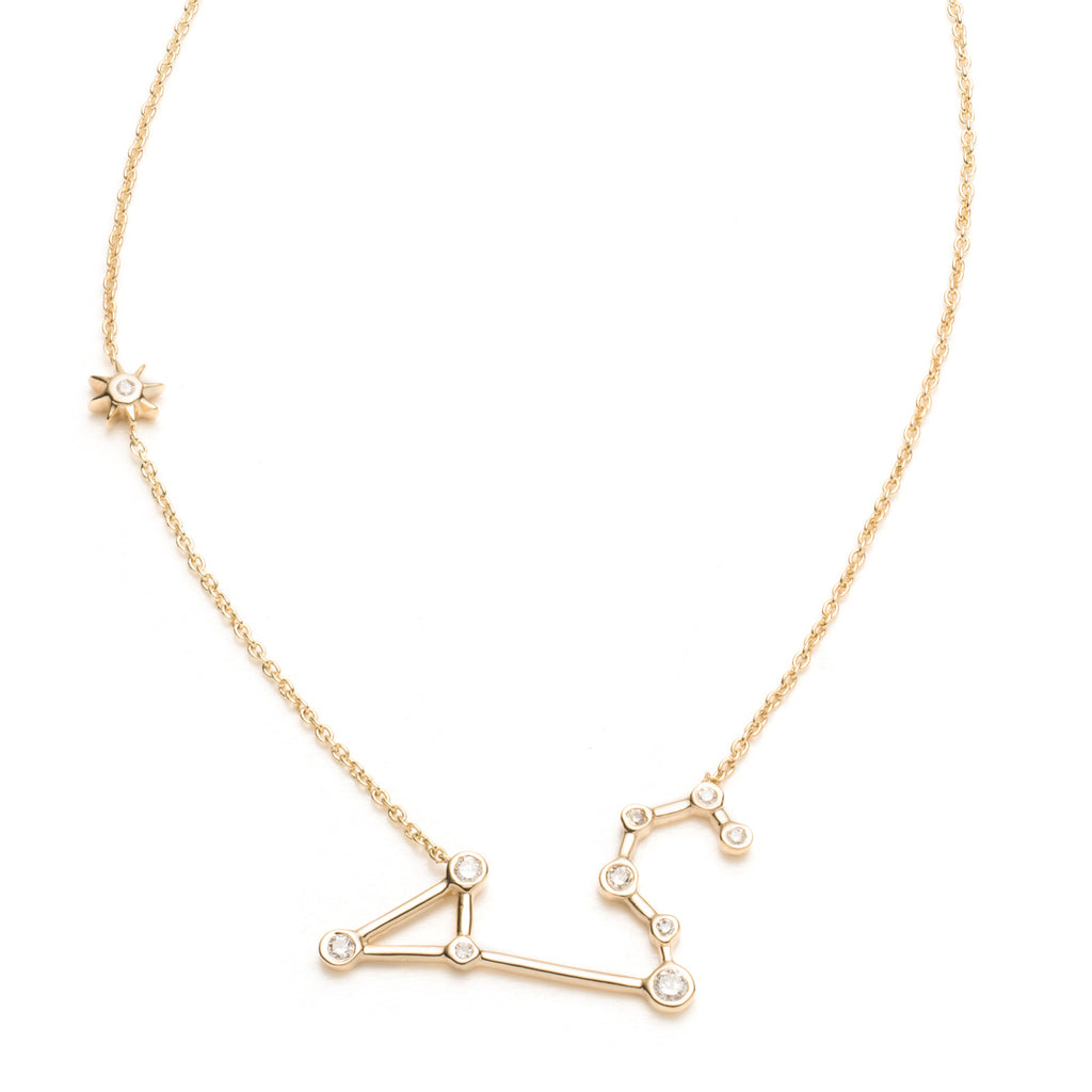 Zodiacs 14K & Diamond Leo + Fire Necklace