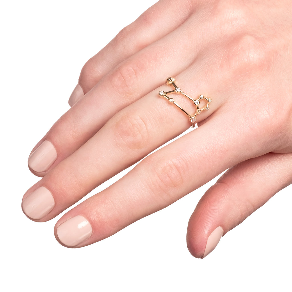 Zodiacs 14k & Diamond Leo + Fire Ring - Photo