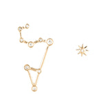 Zodiacs 14K & Diamond Leo + Fire Stud Set