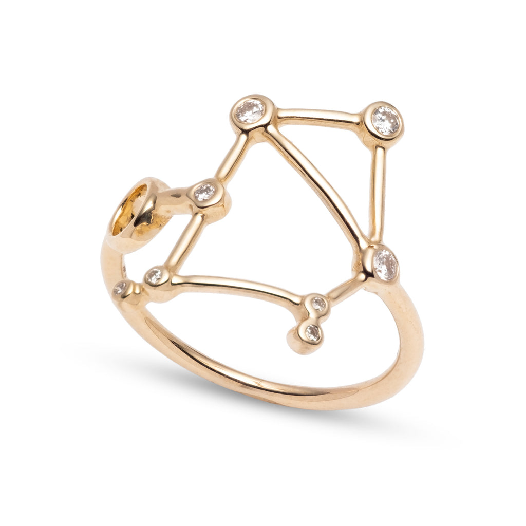 Zodiacs 14k & Diamond Libra + Air Ring